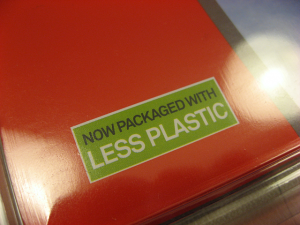 "No, no, no, it really does say: ""Now packaged with less plastic"""